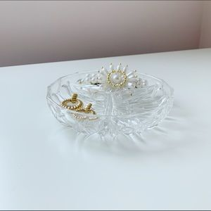 faceted cut glass sectioned trinket holder